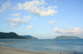 Tropical sandy beach at summer sunny day many people enjoy on the phi phi island southern thailand Stock Photography