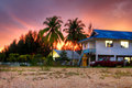 Tropical scenery of small Thai village at sunset Royalty Free Stock Photography