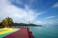 Tropical scenic beauty and boardwalk at malaysia Stock Photos
