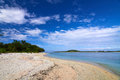 Tropical sea and blue sky with white clouds gili meno lombok indonesia Stock Images
