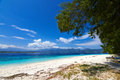 Tropical sea and blue sky with white clouds gili meno lombok indonesia Stock Photo
