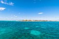 Tropical sea and Isla Mujeres coastline, Mexico Royalty Free Stock Photo