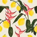 Tropical Seamless Pattern with Bananas and Palm Leaves. Royalty Free Stock Photo