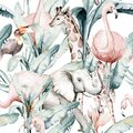 Tropical seamless pattern with flamingo. Watercolor tropic drawing, rose bird and greenery palm tree, tropic green Royalty Free Stock Photo