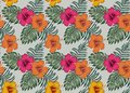 Tropical seamless pattern with flowers hibiscus palm monstera le Royalty Free Stock Photo