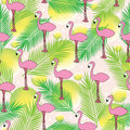 Tropical seamless pattern with hand drawn flamingo, palm leaves and yellow circles. Background for banners and textile.