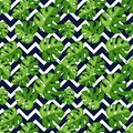 Tropical seamless pattern with leaves and chevron background. Vector