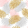 Tropical seamless pattern with monstera leaves and golden glitter texture. Royalty Free Stock Photo