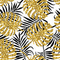 Tropical seamless pattern with monstera leaves and golden glitter texture.