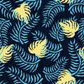 Tropical seamless pattern with palm leaves. Summer floral pattern with green palm foliage and yellow monstera