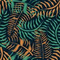 Tropical seamless pattern with palm leaves. Summer floral pattern with green and orange palm foliage on dark background