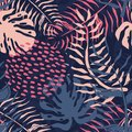 Tropical seamless pattern with palm leaves. Summer floral pattern with pink palm leaves and monstera foliage Royalty Free Stock Photo