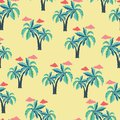 Pattern with Palm trees and clouds.