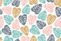 Tropical seamless pattern in pastel colors. Summer tropical design with exotic monstera leaves. Exotic botanical design