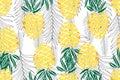 Tropical seamless pattern. Ripe juice fruits. Hand drawn