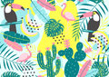 Tropical seamless pattern with toucan, flamingos, cactuses and exotic leaves.
