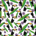 Tropical seamless pattern with toucans, green leaves, purple flowers on white background.