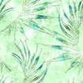 Tropical seamless pattern. Watercolor curved palm leaves, japanese bamboo. Green exotic swimwear design. Summer tropic repeated