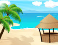 Tropical seascape sandy coast with palm trees and bungalow bar Stock Images