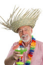 Tropical Senior Man & Margarita Royalty Free Stock Photo