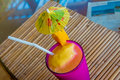 Tropical shake, refreshment drink in glass on tropical Royalty Free Stock Photo