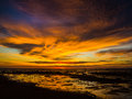 Tropical skies sunset with clouds over ocean Royalty Free Stock Photography