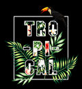 Tropical slogan. Toucan and palm leaves print