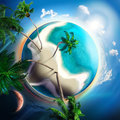 Tropical small planet with coconut trees Royalty Free Stock Photo
