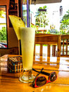 Tropical smoothie pineapple at open air cafe Stock Photography