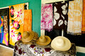Tropical souvenir shop in aitutaki cook islands straw hats for sale a Royalty Free Stock Image