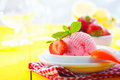 Tropical strawberry icecream Stock Photos