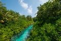 Tropical stream view from the bridge at Maldives Royalty Free Stock Photo
