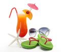 Tropical summer drink,Sunglasses and Flip-flops Royalty Free Stock Image