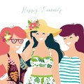 Tropical Summer illustration with happy young girls Royalty Free Stock Photo