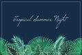 Tropical summer night header footer midnight blue