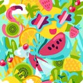 Tropical summer pattern. Bright fruits and berries, Royalty Free Stock Photo
