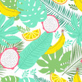 Tropical summer seamless background with bananas