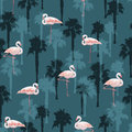 Tropical summer seamless pattern with flamingo birds Royalty Free Stock Photo