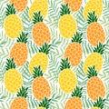 Tropical summer seamless pattern. Pineapple fruit, palm leaves. Hawaii flat design. Vector