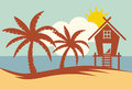 Tropical summer vector illustration - Palm tree, sun and Beach H Royalty Free Stock Photo