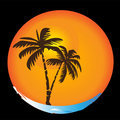 Tropical sun beach logo Stock Images