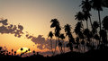 Tropical sunset bright background exotic landscape Royalty Free Stock Images
