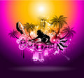 Tropical Sunset Music Party Disco Flyer Royalty Free Stock Photography