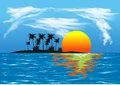 Tropical sunset over the sea and island Royalty Free Stock Photo