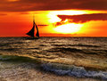Tropical sunset with sailboat boracay philippines Royalty Free Stock Photography