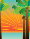 Tropical sunset scene illustration of composition tree with Royalty Free Stock Photo