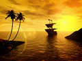 Tropical sunset with a ship Royalty Free Stock Photo