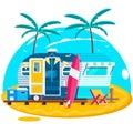 Tropical sunset. Travel Trailer Caravans.