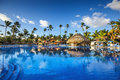 Tropical swimming pool in luxury resort, Punta Cana Royalty Free Stock Photo