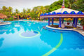 Tropical swimming pool at the morning Royalty Free Stock Photo